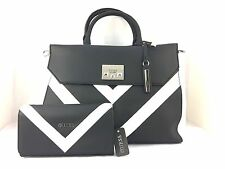 AUTHENTIC NEW NWT GUESS FIRESIDE BLACK WHITE SATCHEL CROSSBODY & WALLET