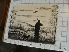 ORIGINAL drawing by Victor Flanders 1969 guy HUNTING WITH DOG