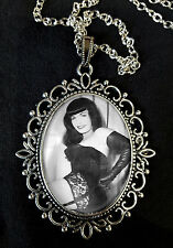 Bettie Page Large Antique Silver Pendant Necklace Burlesque Fetish 1950s Pin Up