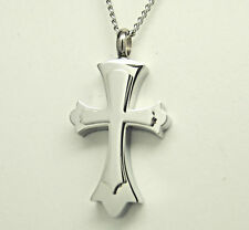 "Cross Cremation Urn Necklace Cremation Jewelry Memorial Pendant 20"" Curb Chain"