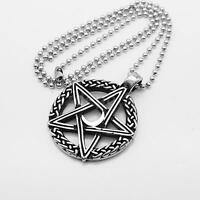 Stainless Steel Silver Star Moon Pentagram Pendant Necklace Chain Jewelry