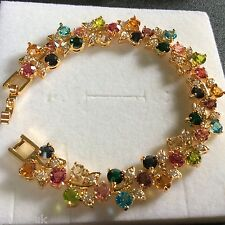 "GB156 Multi coloured gemstones, 7"" gold bracelet (14k gold filled) BOXED Plum UK"
