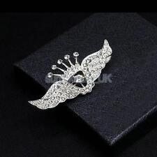 Fashion Men Full Crystal Rhinestone Angel Wing Suit Decor Brooch Pin Jewelry