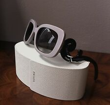 NWT PRADA MINIMAL BAROQUE Square Soft Gray Lens &  Black Scroll Arm Sunglasses