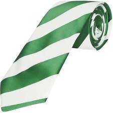 TiesRUs Green and White Striped Hand Made Classic Men's Football Tie Celtic tie