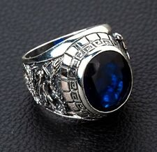 GEM BLUE SAPPHIRE STONE JAPANESE TIGER DRAGON STERLING SILVER MENS RINGS SIZE 10