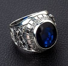 GEM BLUE SAPPHIRE STONE JAPANESE TIGER DRAGON STERLING SILVER MENS RINGS SIZE 8