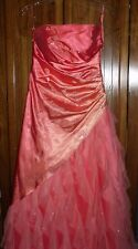 Jump Apparel prom formal full-length Ball gown Juniors Size 3/4 Orange Rayon EUC
