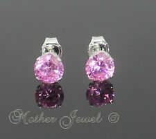 5mm REAL SOLID 925 STERLING SILVER Round Baby Pink Girls Ladies Earrings Studs