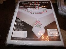 "Tobin Stamped Embroidery Tablecloth HOLIDAY HOLLY & BOWS 58"" x 104"""