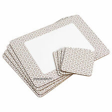 Set of 4 Placemats & Coasters Beige & White Geometric Dinner Table Setting Mats