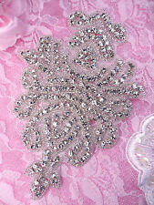 XR294 Crystal Glass Beaded Rhinestone Applique 6""