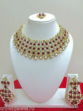 Indian Traditional Gold Tone Bollywood Fashion Pink Bridal Jewelry Necklace Set