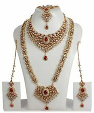 374 Designer Bollywood Gold Plated Red Kundan Bridal Necklace Set Indian Jewelry