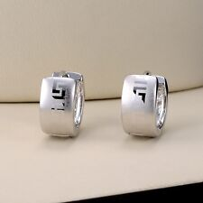 18k White Gold Filled Unique Earrings Mini Hoop Huggie Charms Jewelry