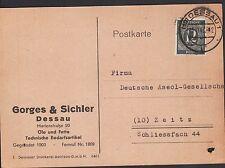 DESSAU, Postkarte 1946, Gorges & Sichler Öle fette technische Bedarfsartikel