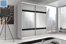 BRAND NEW MODERN BEDROOM SLIDING DOOR WARDROBE 6 ft (183cm) - WHITE & MIRROR