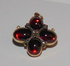 VICTORIAN CABOCHON GARNET AND DIAMOND PENDANT/BROOCH, MOURNING JEWELLERY
