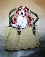 "CAVALIER KING CHARLES ENGLISH TOY SPANIEL DOG FINE ART PRINT - ""Cav and Carry"""