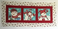 Playful Snowman Table Runner 20 x 45 Suitable for hand or machine quilting