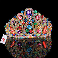 3.1inch Rhinestone Tiaras Wedding Bridal Crystal Colorful Gold Hairbands Tiaras