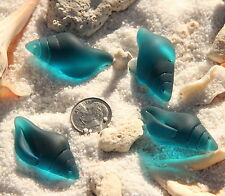 1pc(39x20mm)Large Sea Glass Beach Glass Conch Shell Pendant TEAL