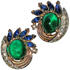 Vintage Trifari Jewels of India Clip Earrings with Green  Cabs