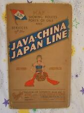 1920's-1930's Java-China Japan Line Wall Map Routes Ports Hong Kong (Rare)