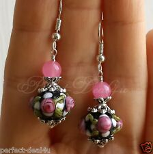 925 Sterling Silver Hook Black-Pink Lampwork beads & Pink Jade stone Earrings
