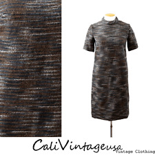 vtg 60s MOD textured space dyed wool TAPESTRY cocktail party mini dress