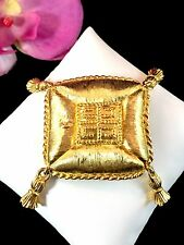 RARE COUTURE SIGNED GIVENCHY PARIS NEW YORK GOLDTONE FINISH PILLOW TASSEL BROOCH