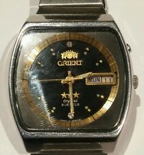 Vintage orient all stainless steel 21jewels day/date wrist watch running