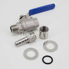 """1/2"""" Barb Pipe Stainless Steel Weldless Compact Kettle Ball Valve Homebrew New"""