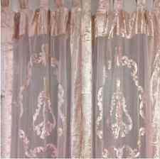 2 Vintage Pink Velvet & Lace Hamptons Country Window Curtain Panel Drape Drapery