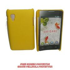 Pellicola+custodia BACK COVER RIGIDA GIALLO per LG Optimus L4 2 II E440 (H8)