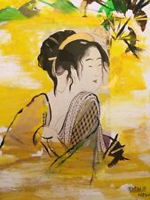 Vintage Style Geisha Fans Acrylic Painting  Oriental Asian Art Mixed Media Sign