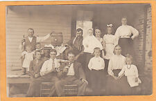 Real Photo Postcard RPPC - Adults and Children on Porch - Men Drinking Beer