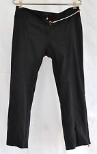 JUST CAVALLI Black Bungee Stretch Cotton Seamed Cropped Capri Casual Pants 42  4
