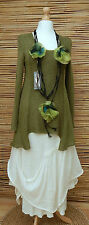 *ZUZA BART*DESIGN EXCLUSIVE BEAUTIFUL LINEN LONG TUNIC/JUMPER*GREEN*Size M-L