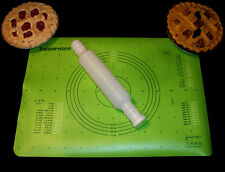Tupperware GREEN Simply Perfect NEW Pastry Mat Sheet ~EUC Fill WHITE Rolling Pin
