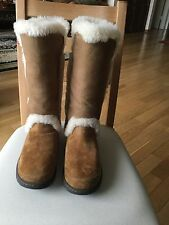 UGG CHESTNUT KATIA TALL WATER-PROOF SUEDE/ SHEEPSKIN BOOTS, US  9 ~NEW