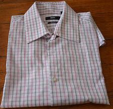 HUGO BOSS-magnifique chemise blanc à carreaux rouge et noir -TAILLE 41-16-