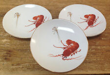 3 Shrimp Sushi Small Soy Sauce Plates Ebi Lobster Red White Japan Hand Painted