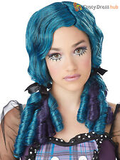 Ladies Broken Doll Wig Ringlet Bunches Blue Purple Halloween Fancy Dress Costume