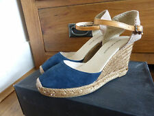 Kurt Geiger navy suede Pablo wedges shoes 37 4 espadrilles raffia