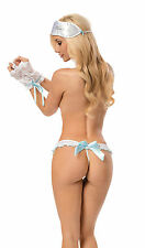 Sexy Bridal Night Panty Set: G-String, Lace Gloves and Satin Eye Mask Lingerie.