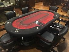 Custom 86 Inch Poker Table w/ Casino Deckmate Card Shuffler & Brunswick Chairs