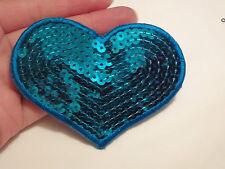 grande blu cuore patch paillettes toppa da applicare motivo cucire cucito UK