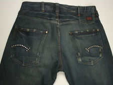 EUC - RRP $389 - Mens Stunning G-Star Raw Destroyed 'STUDS LOOSE' Dark Jeans