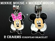 MICKEY & MINNIE MOUSE Disney Charm For European Style Bracelets Chain Necklace 2
